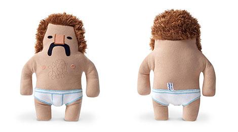 Plüschfigur Manni mit Schnauzbart und Feinripp-Unterhose