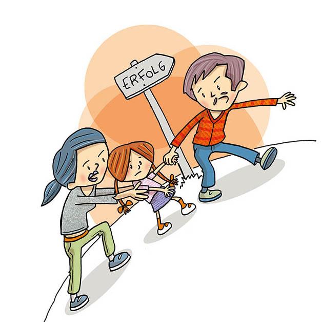 Illustration von Frank Schulz Art für Jan Uwe Rogge im GU Verlag zu Wie Erziehung garantiert misslingt (Mama und Papa schubsen Tochter zum Erfolg)
