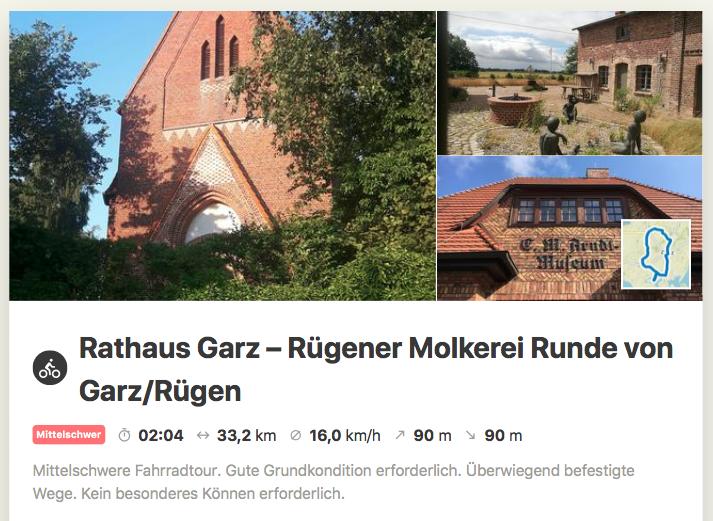 Infos über die Radtour Rathaus Garz-Molkerei