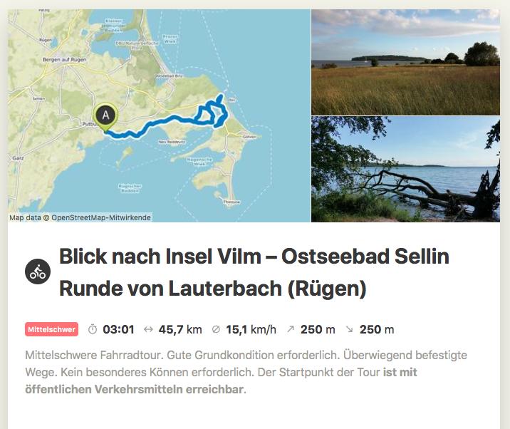 Tour vorbei an Insel Vilm, nach Sellin und zurück nach Lauterbach