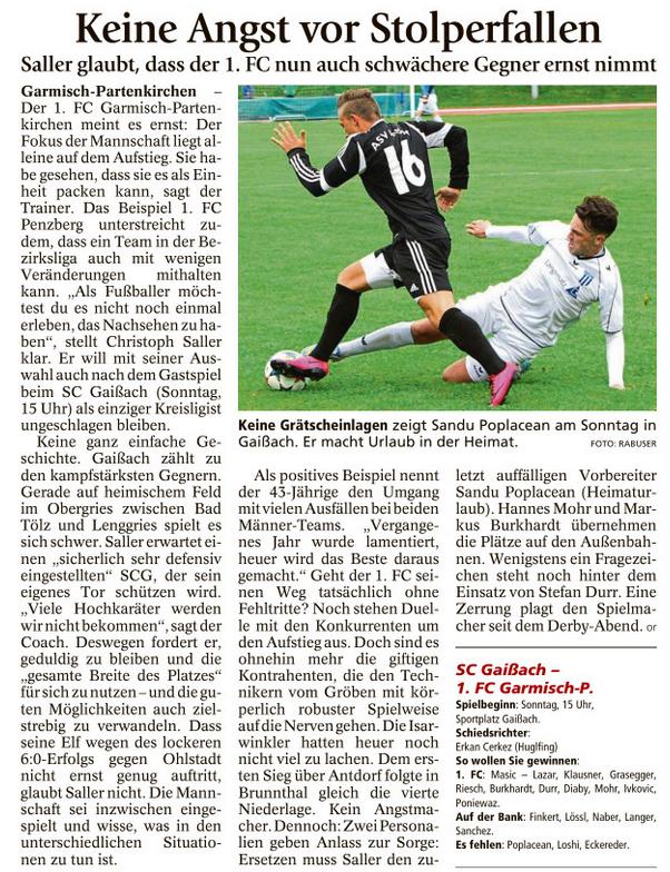 Ga-Pa Tagblatt vom 24.09.2016