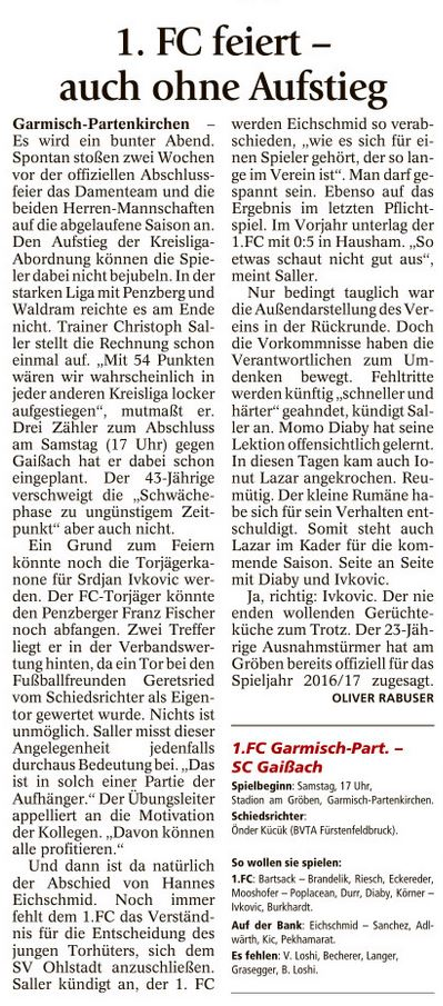 Ga-Pa Tagblatt vom 04.06.2016