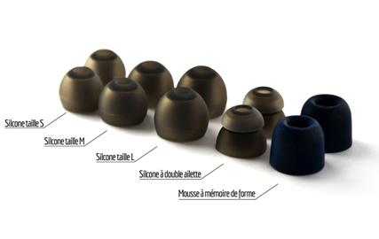 Embouts silicone et mémoire de forme des écouteurs Erdre Audio D201G