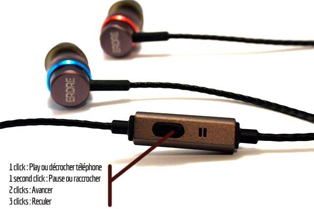 Fonction telecommande des ecouteurs Erdre Audio D201G