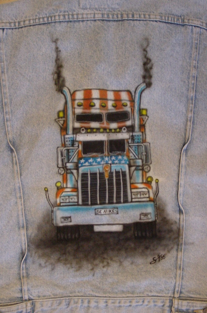 Airbrush Jeansweste Detail