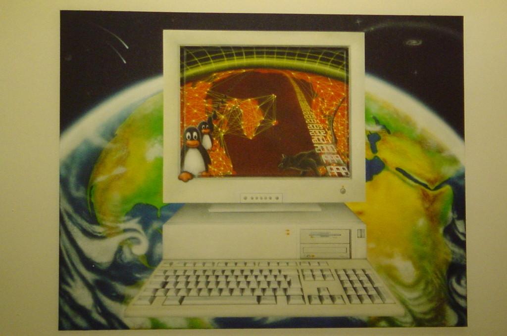 "Airbrush Wandbild ""Linux Netz"""