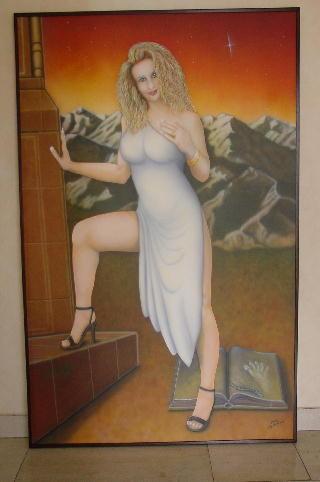 "Airbrush Wandbild ""Weiße Frau"""