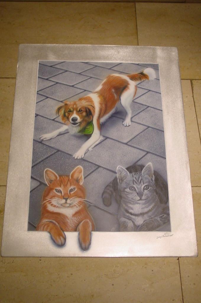 """Airbrush Wandbild """"Hunde und Katzen"""""""