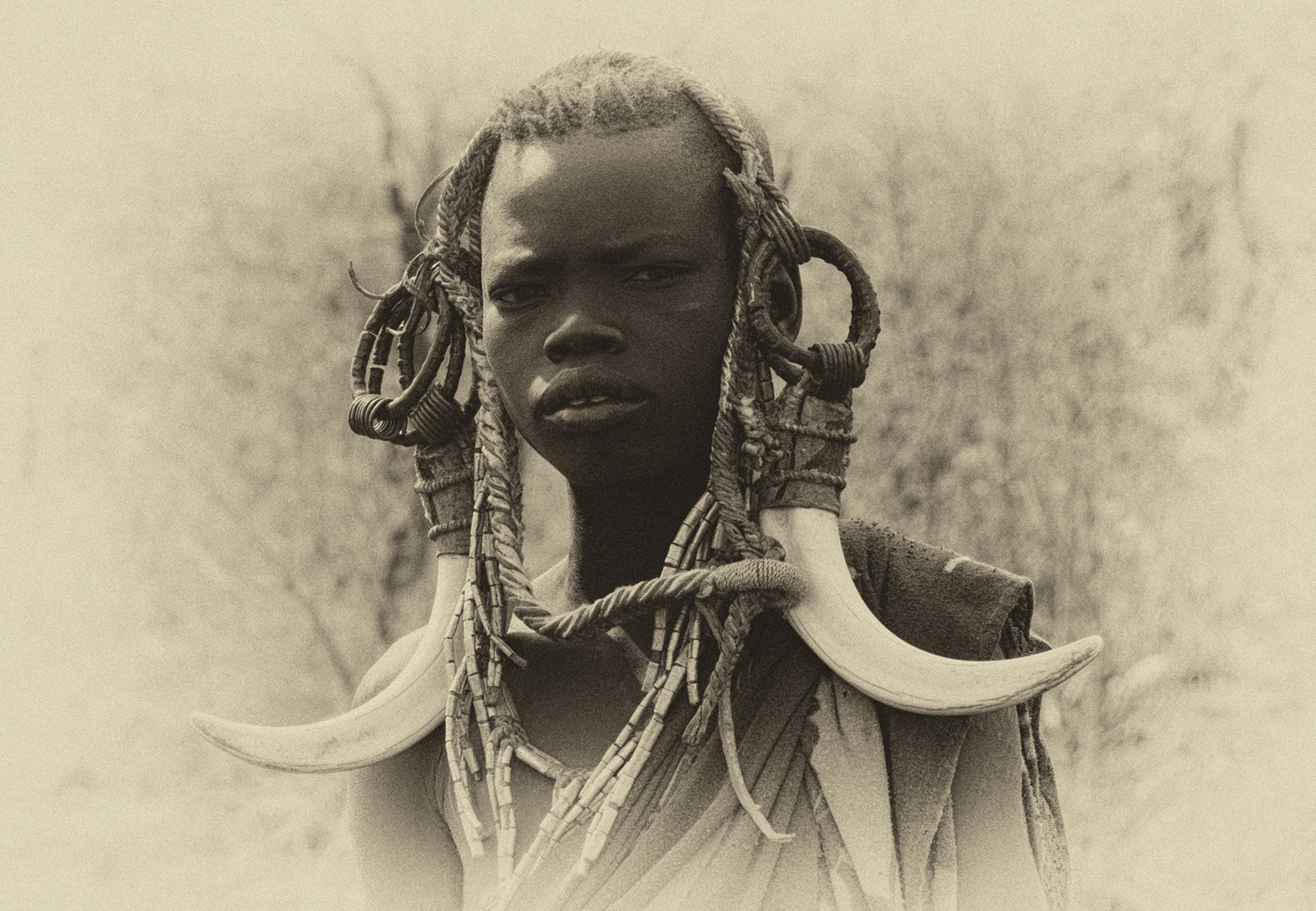 Herdis Halvas-Nielsen:  Mursi boy with horns