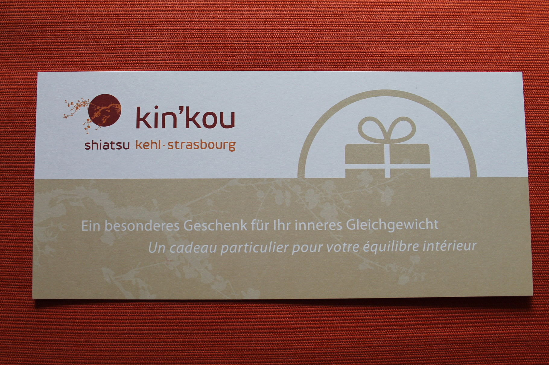 Vous cherchez une idée cadeau originale et infaillible? Le bon cadeau Kin'Kou Shiatsu / Kehl Strasbourg est le cadeau qui fait plaisir à tous les coups!