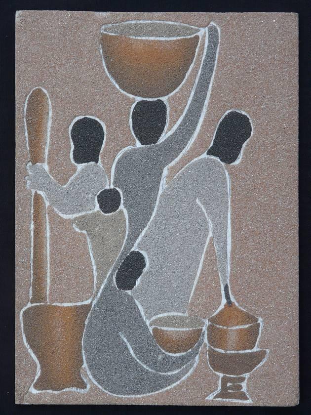 tableau africain en sable colore