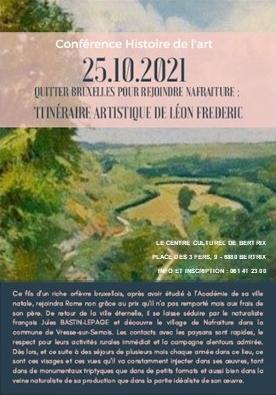 """Conférence sur Léon Frederic au centre culturel de Bertrix """"QUITTER BRUXELLES POUR REJOINDRE NAFRAITURE"""""""