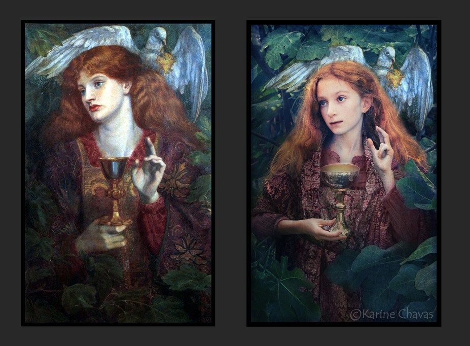La demoiselle du Saint Graal - D'après Gabriel Charles Dante Rossetti