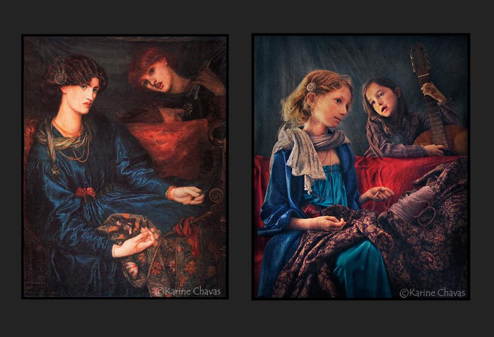 Duo de femmes - Tableau de Gabriel Charles Dante Rossetti/version classique :
