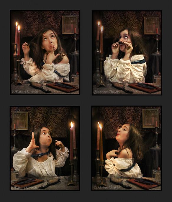 """d'après Rossetti """"Aurelia"""" (Fazio's mistress) - versions décalées"""