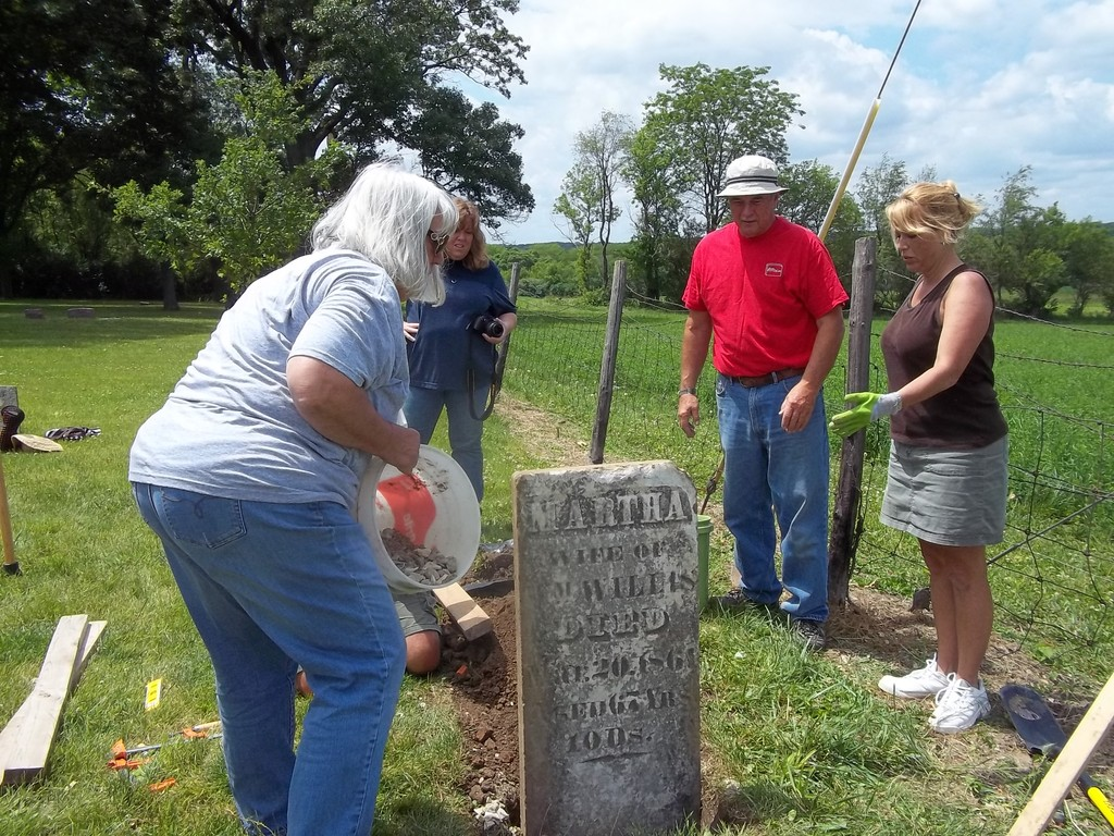 The headstone has been reset using correct procedures and techniques.