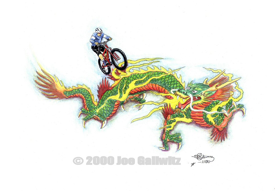 "Ride the Dragon, watercolor pencils on paper,  8"" x 11.5""  © Joe Gallwitz 2000"