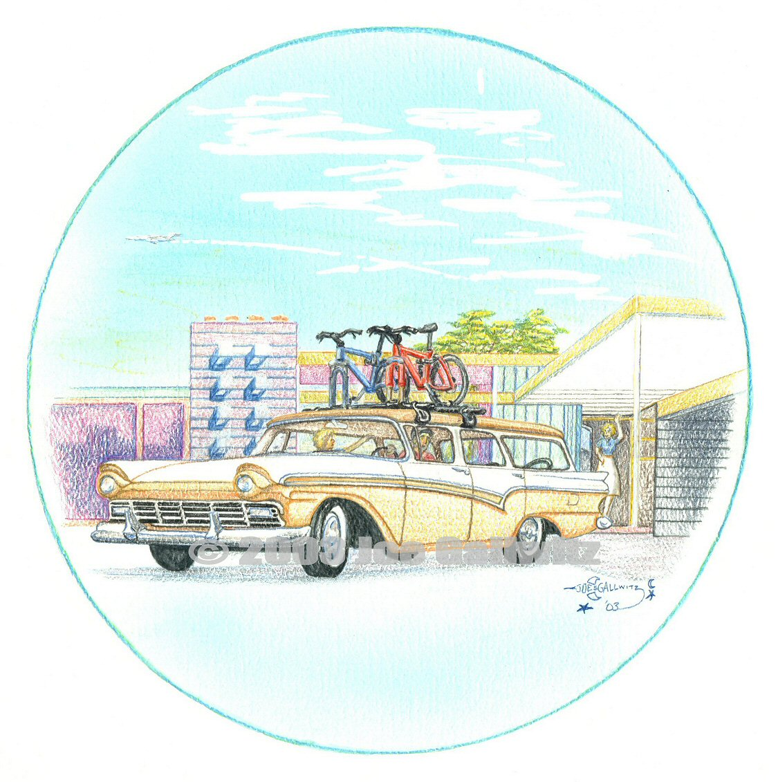 "Retro Road Trip, watercolor pencils on watercolor paper, 16"" x 16""  © Joe Gallwitz 2003"