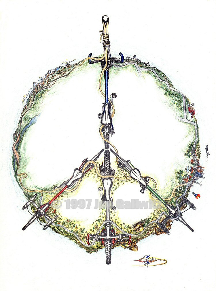 A variation on the venerable old peace sign using bikes for the arms and Gaia as the circle. We would all smile more if we rode our bikes instead of driving our cars.