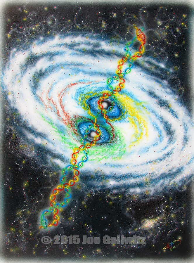 "Cosmic Serpent, acrylics on art panelboard, 12"" x 16""  ©Joe Gallwitz 2013"