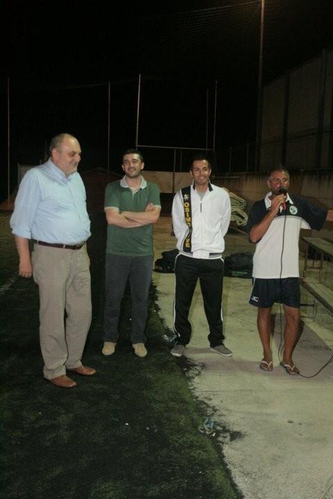 il sindaco, Rossetti, Marzocchini e il giocatore della prima squadra Agostinelli