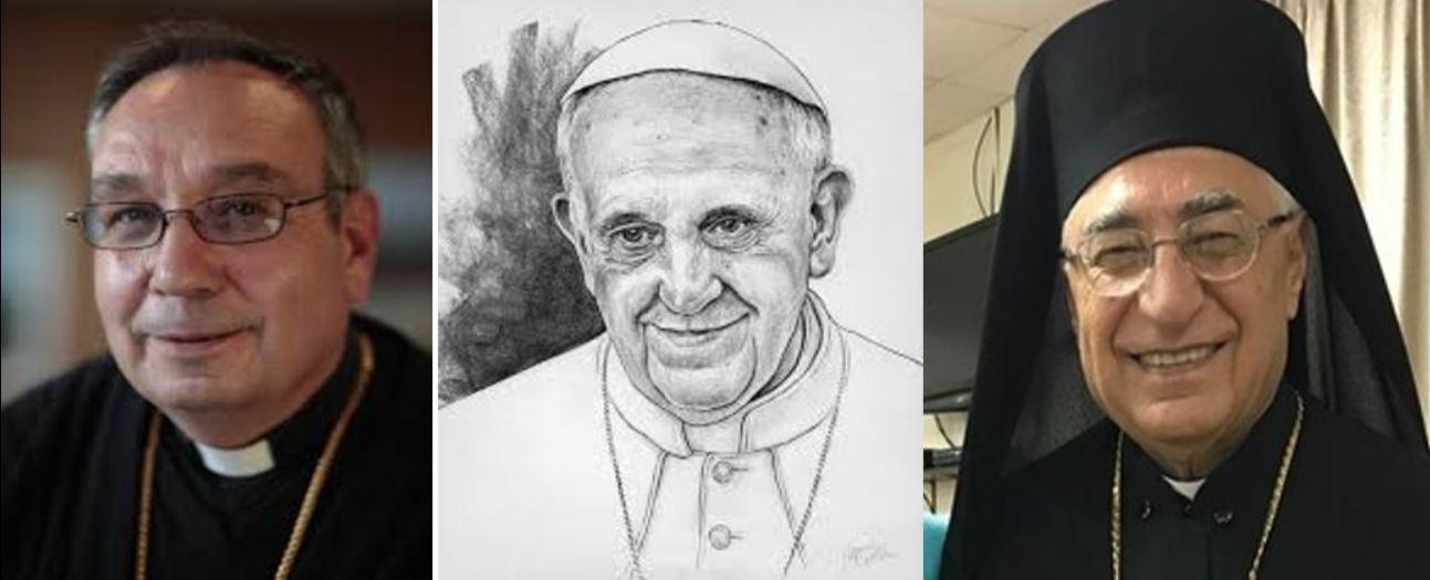 S.E. Mgr. Jean Harbache - S.S. le Pape François - S.B. le Patriarche Joseph Absi