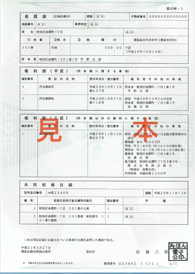 上記の画像は、法務省HPで公開している、土地の登記事項証明書の見本になります。