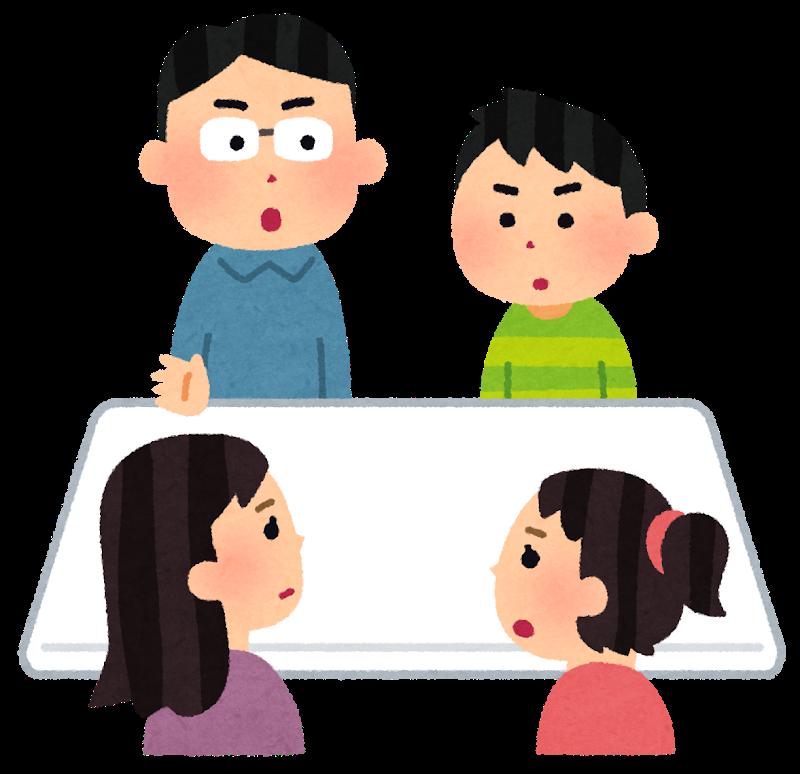 遺留分と相続分について協議する家族会議の風景