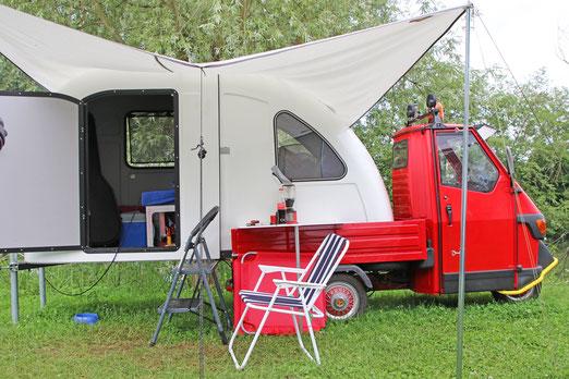 Womo-Aufbau für eine Piaggio Ape 50 mit Pritsche