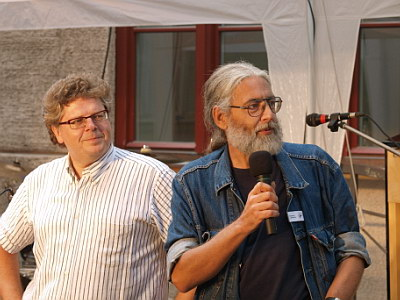 Konzerte im Bürgerhof 25.06.09 Wolfgang Krell und Wolfgang F. Lightmaster - Freiwilligen-Zentrum Augsburg - Foto: Hugo Fössinger