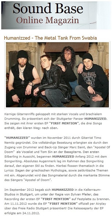 REVIEW - HUM FIRST MENTION - Sound Base Online Magazin - 14.02.2013