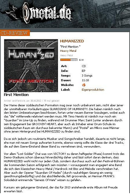 "REVIEW - ""FIRST MENTION"" auf www.metal.de"