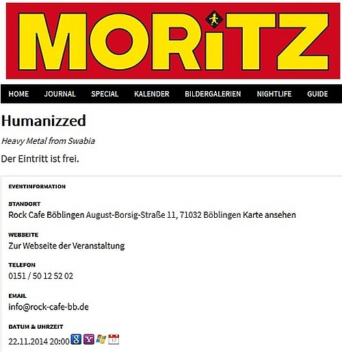 Screenshot MORITZ 11-2014 - Konzert 22.11.2014 Rock Cafe, Böblingen