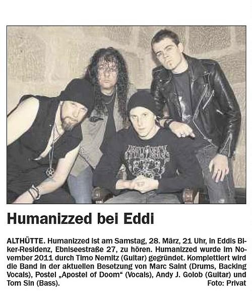 26.03.2015 Welzheimer Wochenblatt - HUMANIZZED LIVE AT 28.03.2015 Eddi's Biker-Residenz, Althütte
