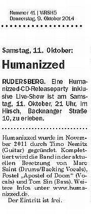 09.10.2014 Schorndorfer Wochenblatt - CD Releaseparty am 11.10.2014 Hirsch, Rudersberg