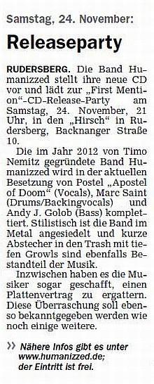 Zeitungsartikel 22.11.2012 Schorndorfer Wochenblatt - CD Releaseparty am 24.11.2012 Hirsch, Rudersberg