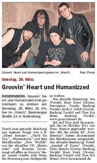 Artikel Schorndorfer Wochenblatt 27.03.2014 Hirsch, Rudersberg