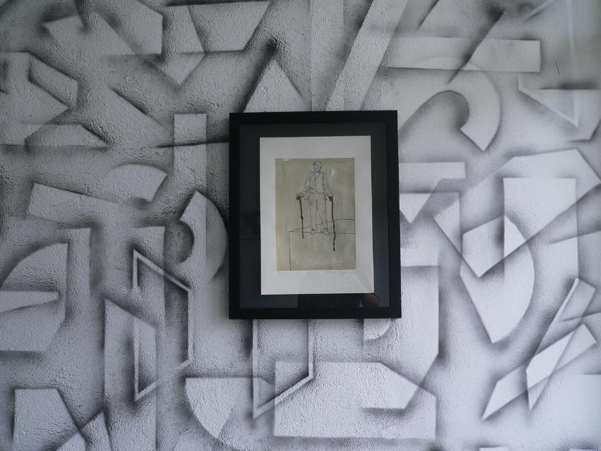 Zeichnung auf Wandmalerei