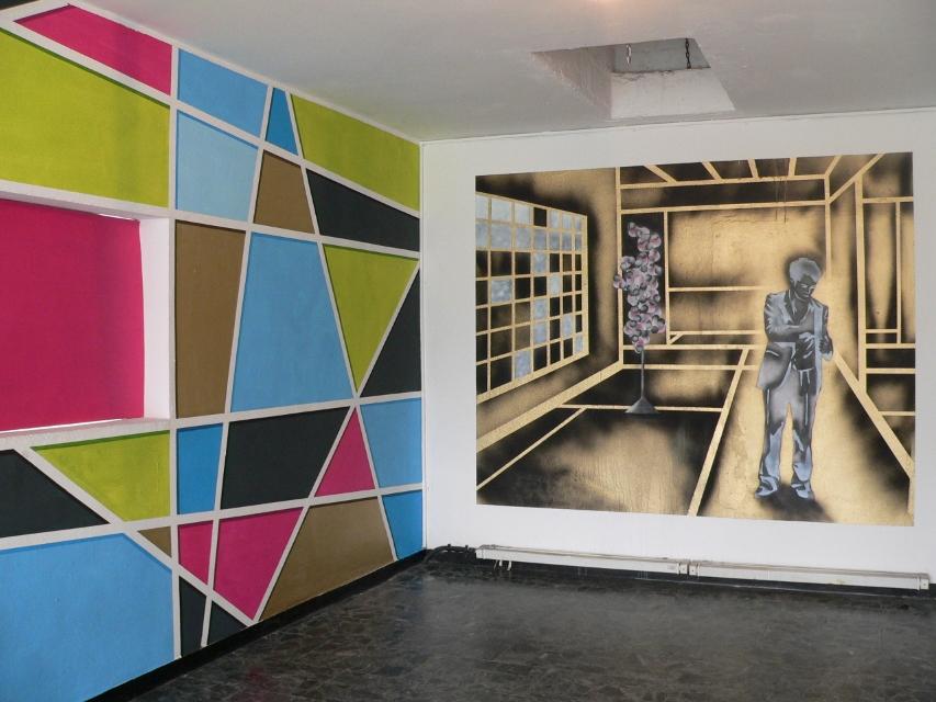 Wandmalerei von Myriam Resch (links) und Marc von Criegern