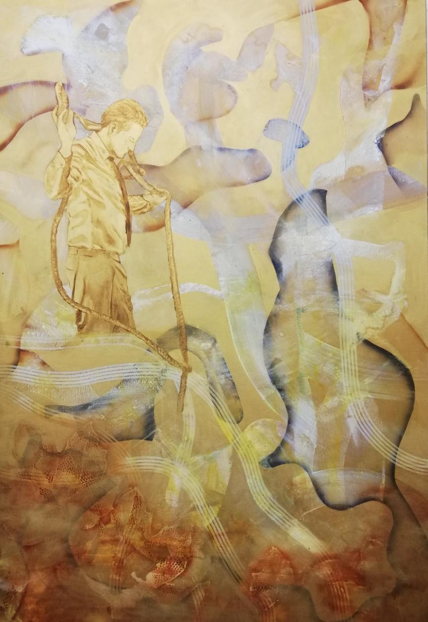 Goldener Käfig, 200x140 cm, Acryl und Tusche auf Leinwand, 2020