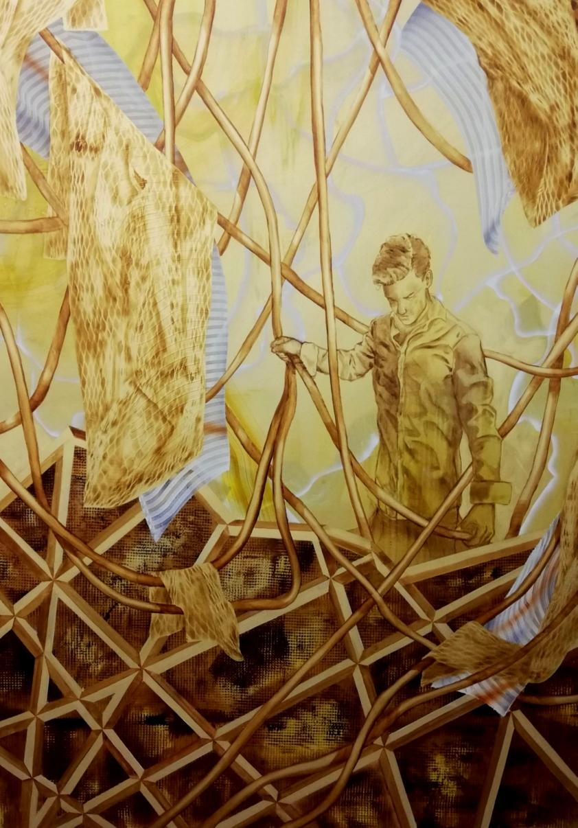 Räumung, 200x140 cm, Acryl und Tusche auf Leinwand, 2020