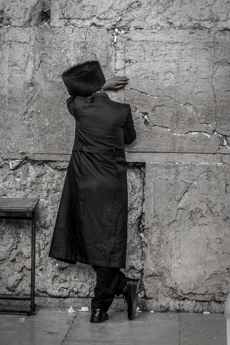 Orthodox Jew praying at the Wailing Wall in Jerusalem. May 2017.
