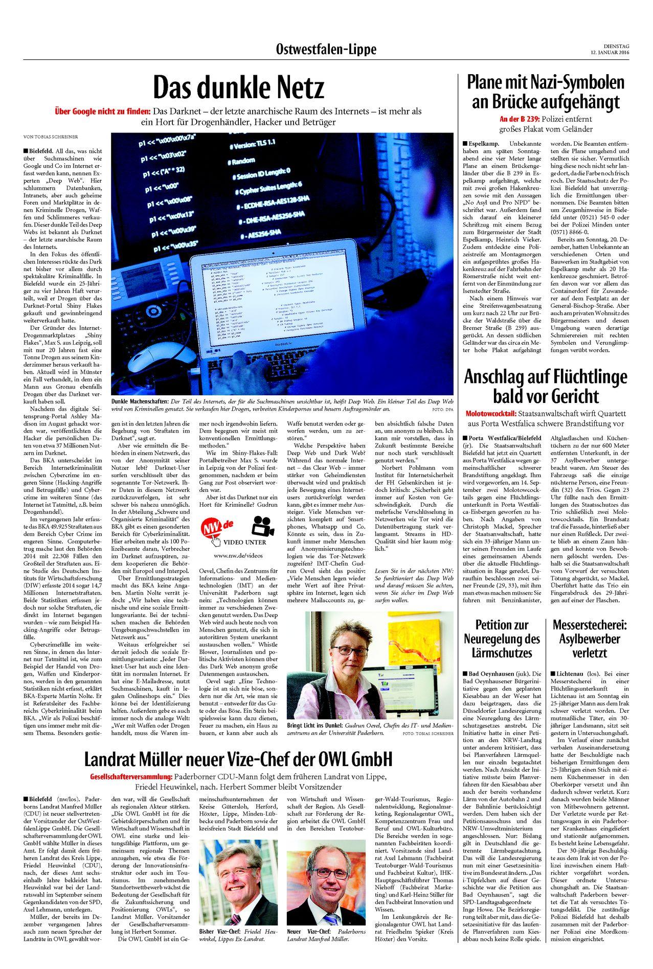 Neue Westfälische, [12.01.2016].  Texte und Fotos aus der Neuen Westfälischen sind urheberrechtlich geschützt.  Weiterverwendung nur mit schriftlicher Genehmigung der Redaktion.