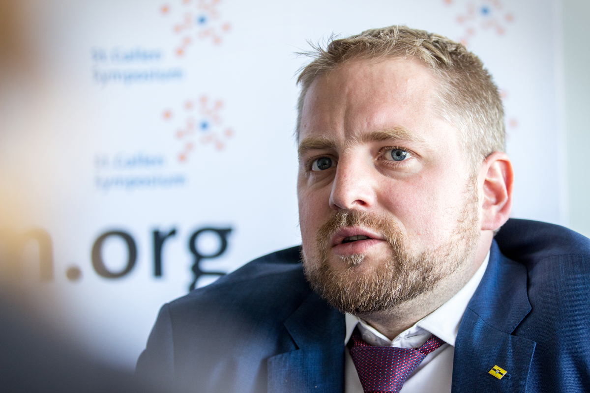 Vít Jedlička, Czech politician and president of the Free Republic of Liberland, a self-declared micronation between Croatia and Serbia. St. Gallen, May 2017