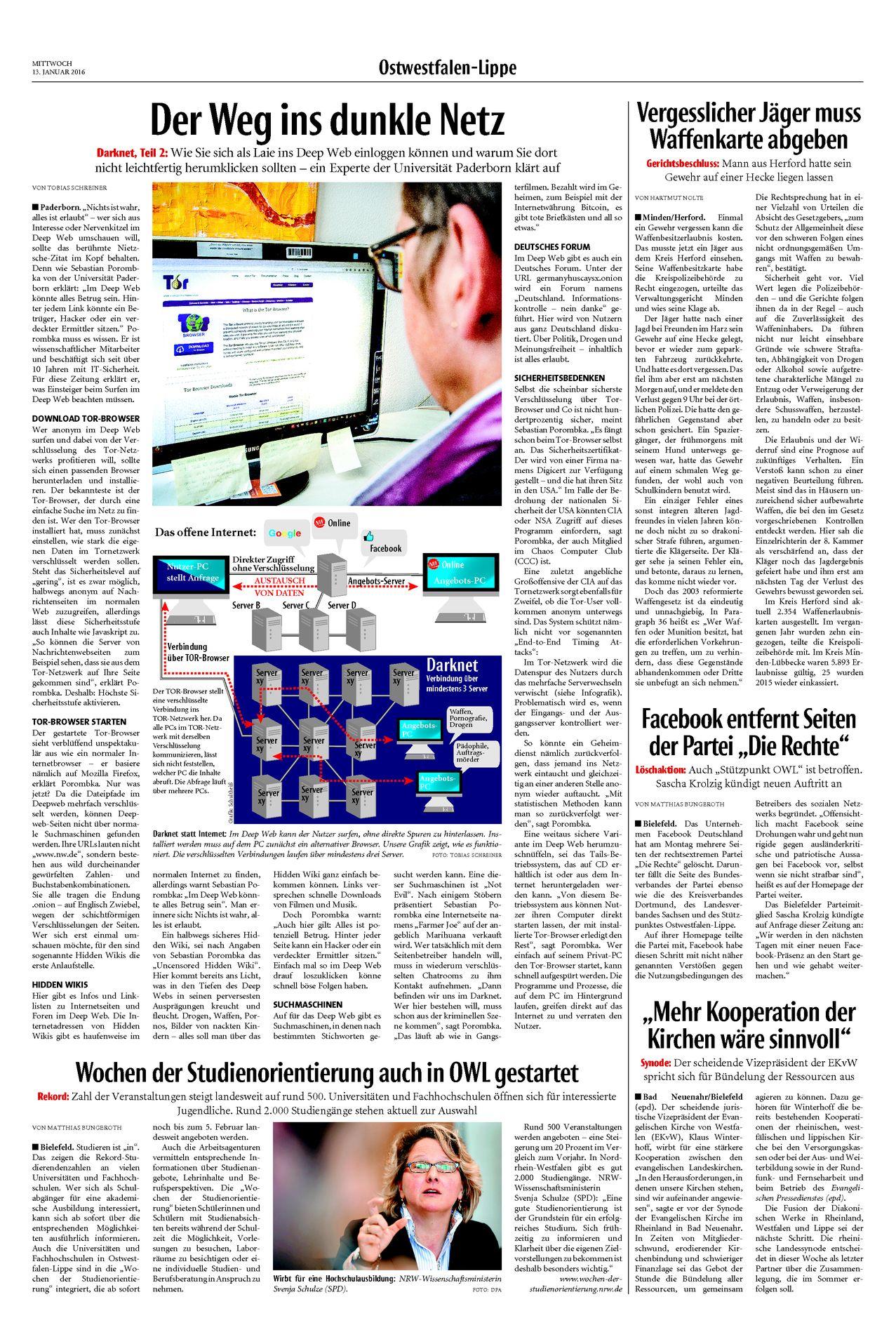 Neue Westfälische, [13.01.2016].  Texte und Fotos aus der Neuen Westfälischen sind urheberrechtlich geschützt.  Weiterverwendung nur mit schriftlicher Genehmigung der Redaktion.