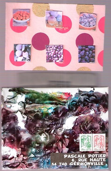 Pour Pascale la Perlée qui en cultive toute l'année, des prunes de toutes sortes...le visuel du couvercle est sensé représenter des jus de fruits coulant, réalisé sur papier brillant avec des encres Pébéo