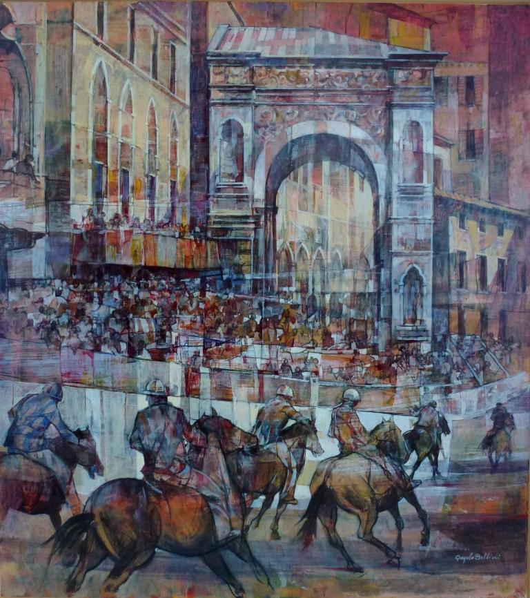 Angelo Bellini  'Siena-il Palio', 90x100 cm