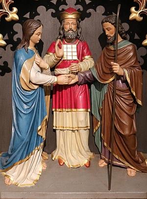 Josephs Vermählung mit Maria (Jakob Wolks, 1895), im Marienaltar der Josephskirche (R. Dux fec.)