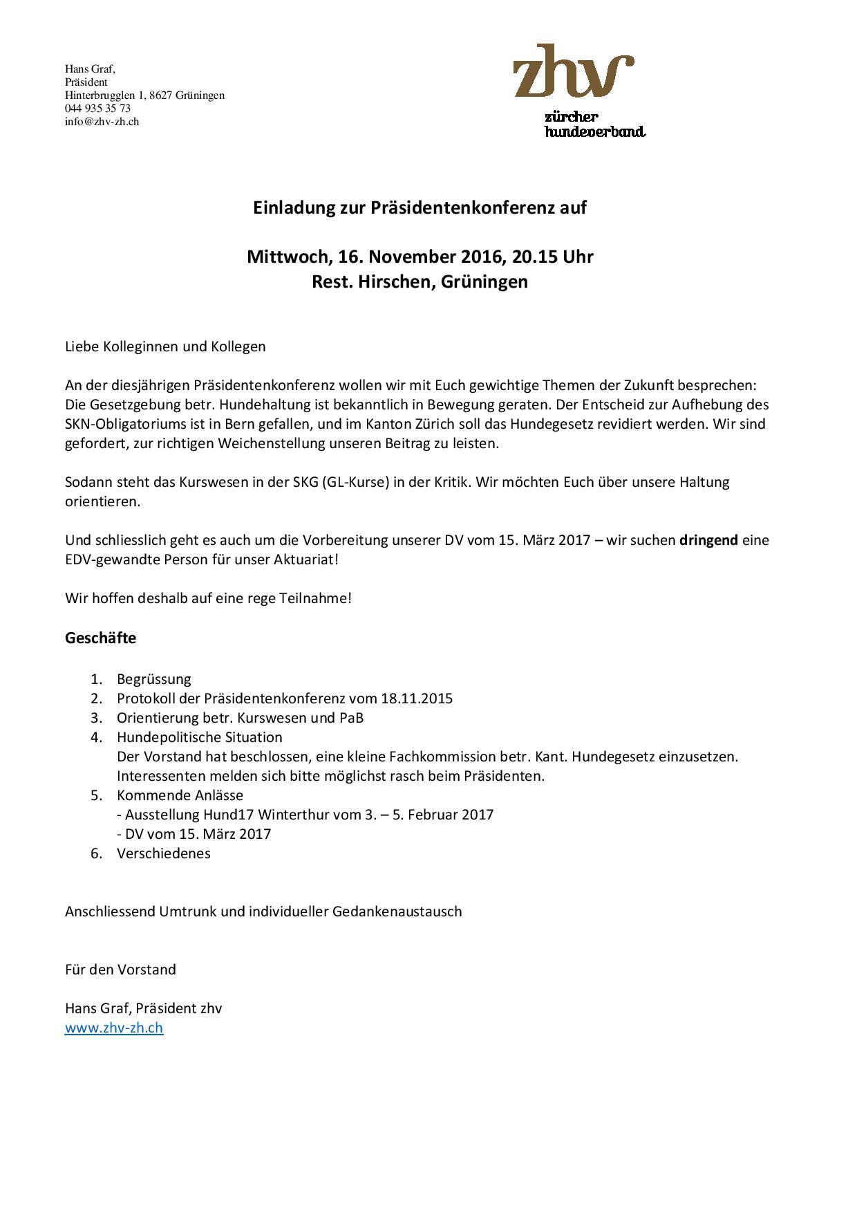 einladung zhv-präsidentenkonferenz - zürcher hundeverband, Einladung