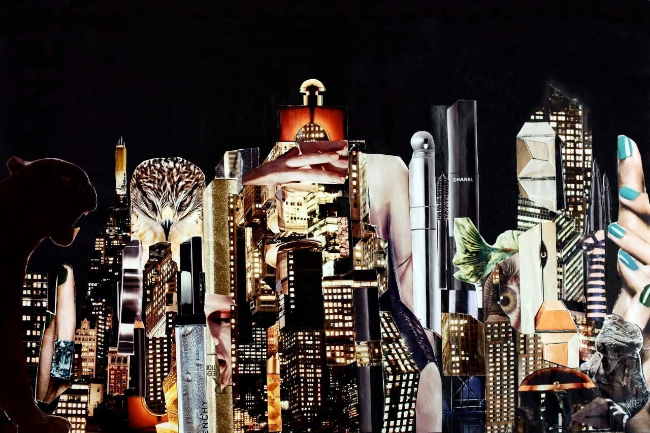Night Beauty #1 - Fotografie/Acrylprint von Handcut Paper Collage (90cm x 60cm) © Edel Seebauer